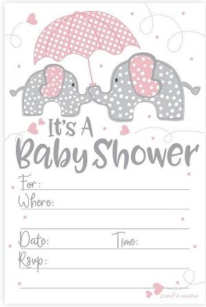 Pink Elephant Girl Baby Shower Invitations