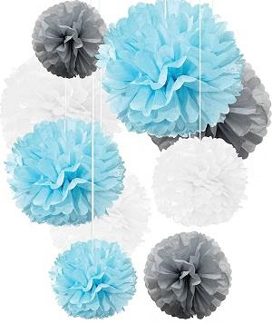 Tissue Paper Pom Poms Light Blue